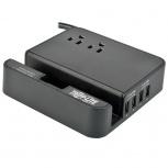 Tripp Lite Estación de Carga Personal para Escritorio, 4x USB, 2 Contactos, Negro