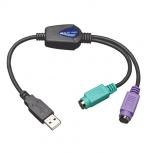 Tripp Lite Adaptador USB Macho - 2 x PS/2 Hembra, Negro