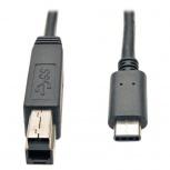 Tripp Lite Cable USB C Macho - USB B Macho, 91cm, Compatible con Thunderbolt 3, Negro