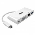 Tripp Lite Adaptador USB-C Macho - VGA Hembra con Hub USB-A, 1x RJ-45, Blanco