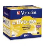 Verbatim Discos Virgenes DataLifePlus para DVD, DVD+RW, 4.7GB, 4x, 10 Discos