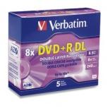 Verbatim Discos Virgenes para DVD, DVD+R DL, 8x, 5 Discos 95311