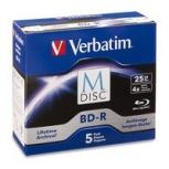 Verbatim Discos Virgenes para Blu-Ray, BD-R, 4x, 25GB, 5 Piezas