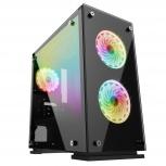 Gabinete Vorago CSG550 con Ventana, Mini-Tower, Micro ATX/Mini-ITX, USB 3.0, sin Fuente, Negro