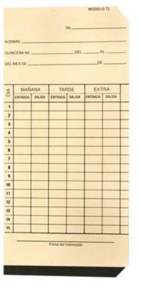 Acroprint Tarjeta Checadora T-2, Quincenal, Vertical 6 Columnas, 1000 Piezas, Beige