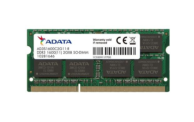 Memoria RAM Adata DDR3, 1600MHz, 2GB, CL9, SO-DIMM