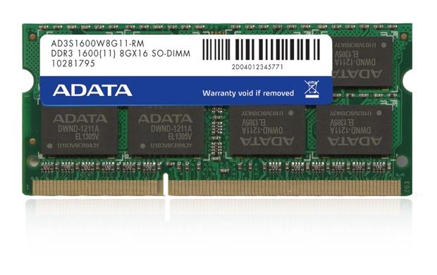 Memoria RAM Adata DDR3, 1600MHz, 8GB, CL11, SO-DIMM
