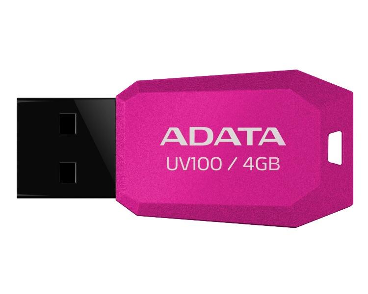 Memoria USB Adata Dashdrive UV100, 4GB, USB 2.0, Rosa