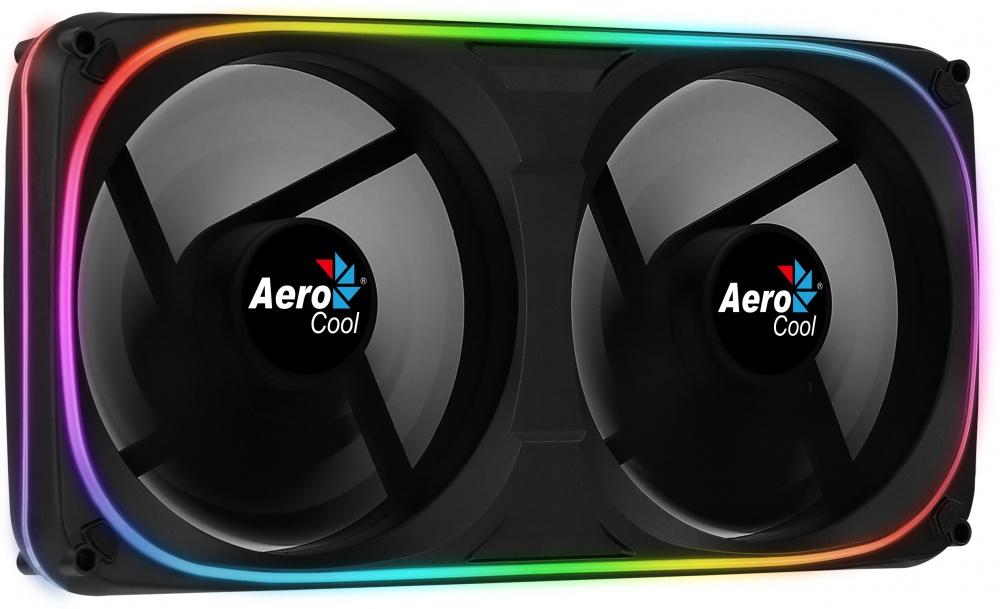 Ventilador Aerocool Astro 24 RGB, 2x 120mm, 1000RPM, Negro