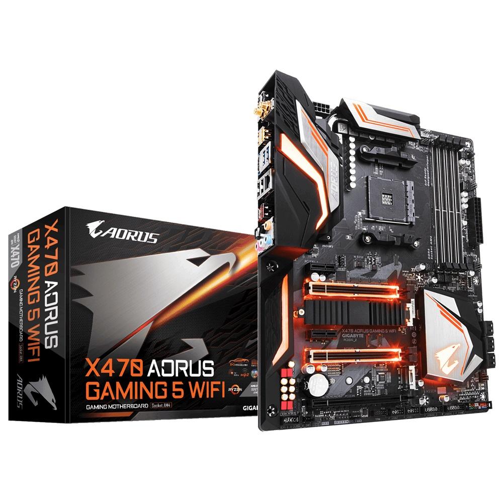 Tarjeta Madre AORUS ATX X470 Gaming 5 WIFI, S-AM4, AMD X470, HDMI, 64GB DDR4 para AMD