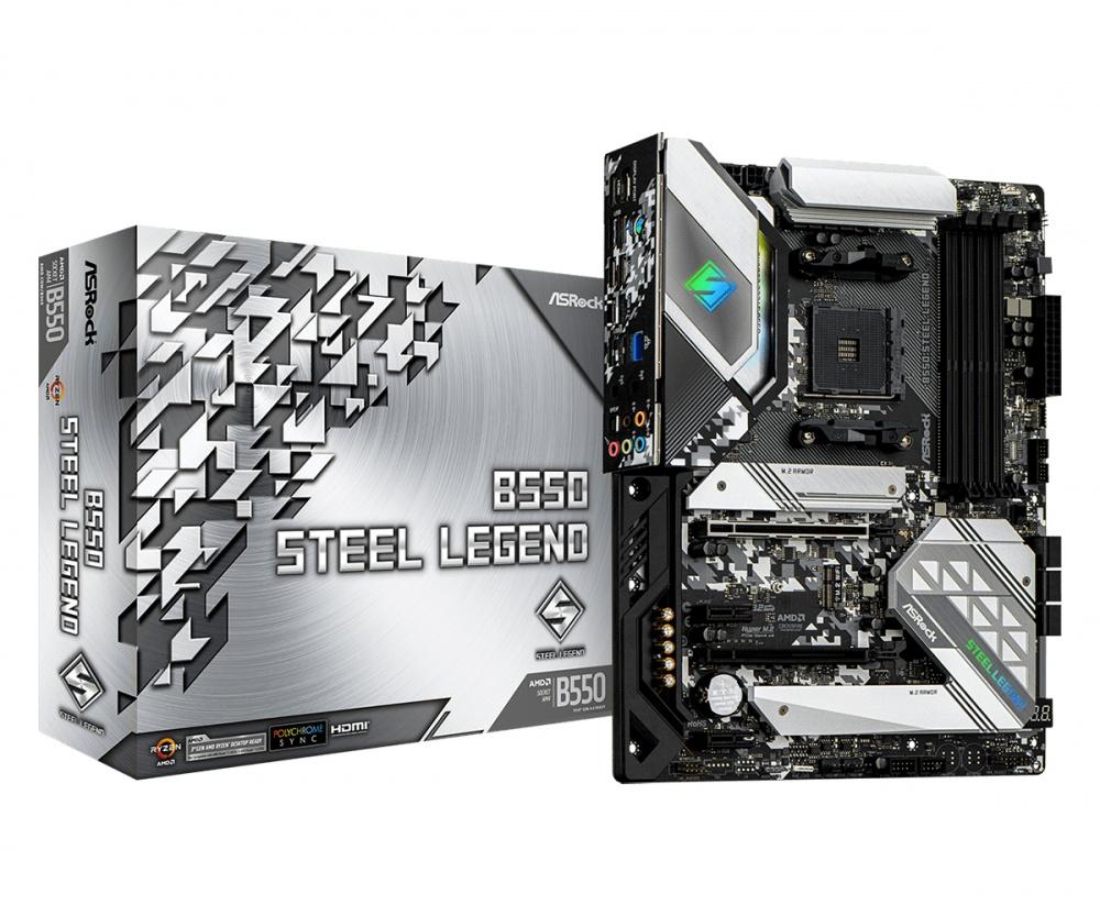 Tarjeta Madre ASRock ATX B550 Steel Legend, S-AM4, AMD B550, HDMI, 128GB DDR4 para AMD — Requiere Actualización de BIOS para la Serie Ryzen 5000