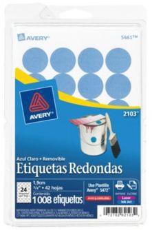 Avery Etiqueta Redonda 2103, 1008 Etiquetas de Diámetro 3/4, Azul Claro