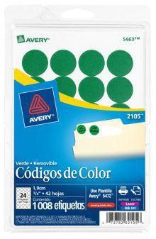 Avery Etiqueta Redonda 2105, 1008 Etiquetas de Diámetro 3/4, Verde