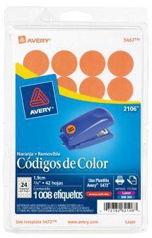 Avery Etiqueta Redonda 2106, 1008 Etiquetas de Diámetro 3/4, Naranja