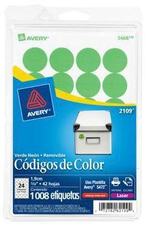 Avery Etiqueta Redonda 2109, 1008 Etiquetas de Diámetro 3/4, Verde Brillante