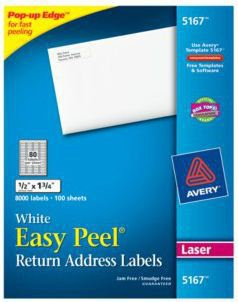 Avery Etiqueta para Dirección 5167, 8000 Etiquetas de 1/2 x 1 3/4, Blanco