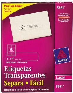 Avery Etiqueta para Dirección 5661, 1000 Etiquetas de 1 x 4 1/4, Transparente
