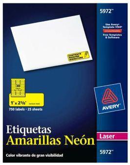 "Avery Etiqueta 5972, 750 Etiquetas de 1"" x 2 5/8"", Amarillo Neon"