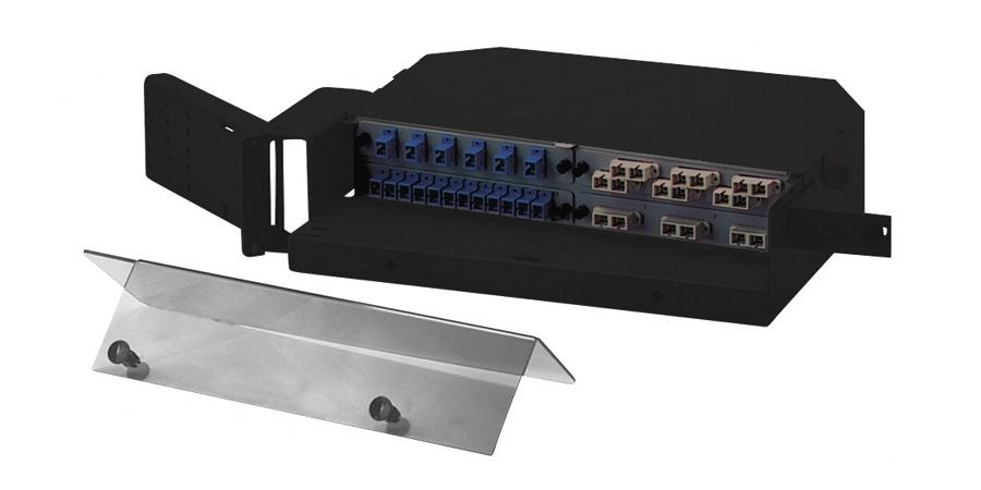 Belden Caja de 48 Adaptadores de Fibra Óptica, SC/SCD/ST/FC, 2U, Negro