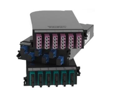 Belden Módulo de 12 Adaptadores de Fibra Óptica LC Dúplex, Multimodo, OM3, Aqua/Negro