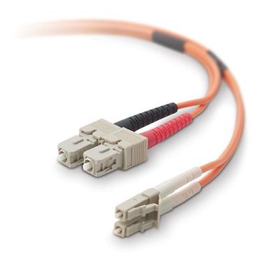 Belkin Cable Fibra Óptica Multimodo OFC LC Macho - SC Macho, 62.5/125µm, 2 Metros, Naranja