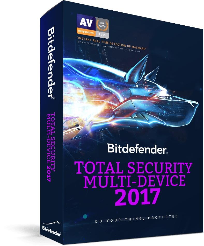 Bitdefender Total Security Multi-Device 2017, 3 Usuarios, 2 Años, Windows/Mac/Android