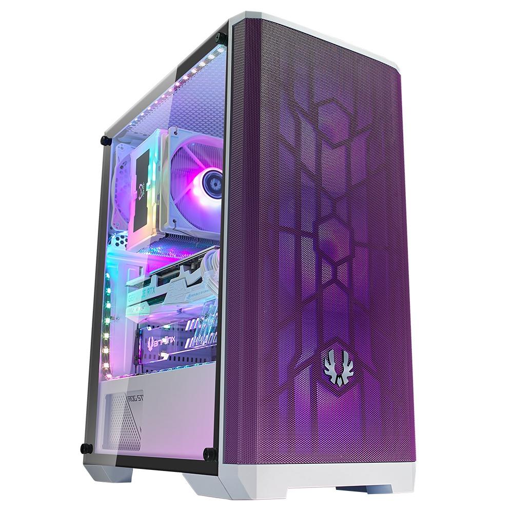 Gabinete BitFenix Nova Mesh SE TG con Ventana RGB, Midi-Tower, ATX/micro ATX/Mini-ITX, USB 3.0, sin Fuente, Púrpura/Blanco