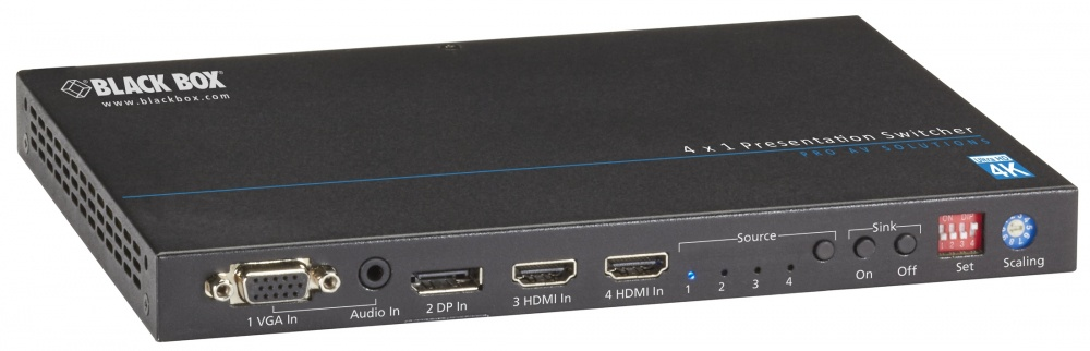 Black Box Adaptador Display Port/HDMI/DVI/VGA, 5 Puertos, Negro
