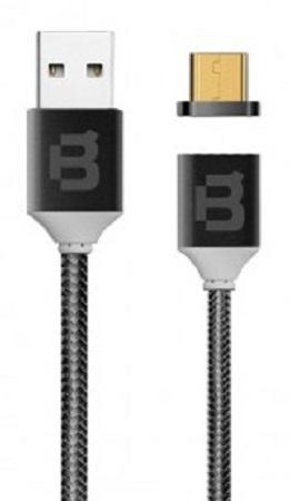 Blackpcs Cable USB A Macho - Micro USB Macho Magnetico, 1 Metro, Negro
