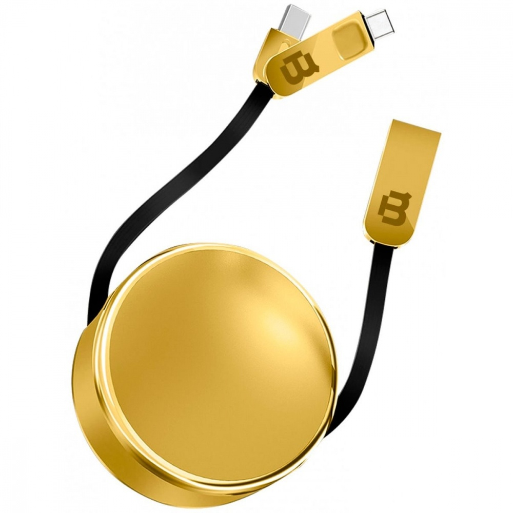 Blackpcs Cable de Carga 2 en 1 USB A Macho - Lightning/USB C Macho, 1 Metro, Dorado, para iPod/iPhone/iPad/Android