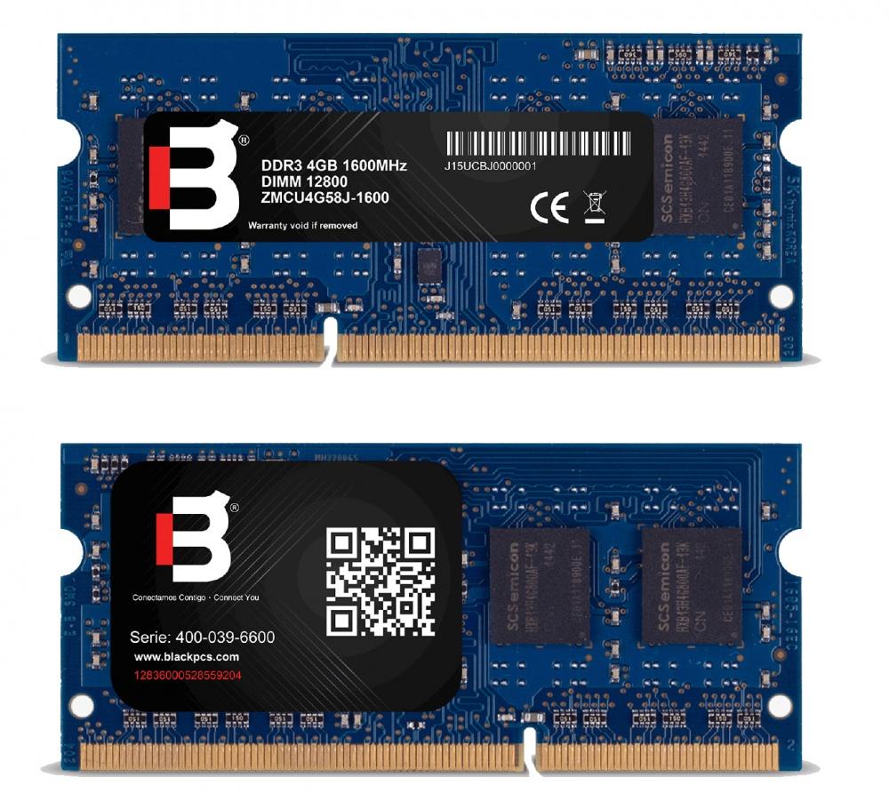 Memoria RAM Blackpcs DDR3, 1600MHz, 4GB, CL11, SO-DIMM, 1.35v