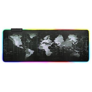 Mousepad Gamer RGB BRobotix 651329, 80 x 30cm, Grosor 4mm, Negro/Gris