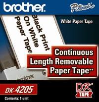 Brother Rollo de Cinta de Papel Removible Blanco DK-4205, 62mm