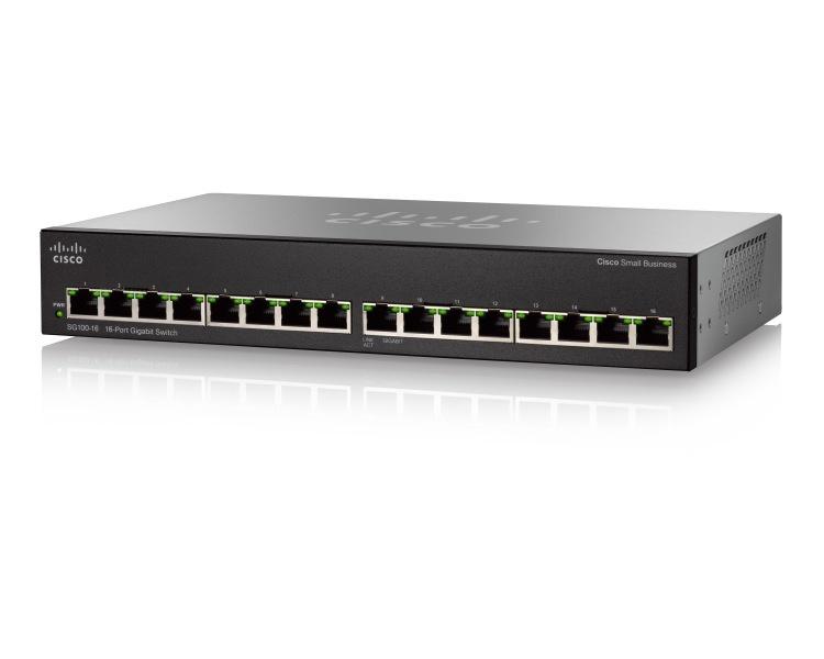 Switch Cisco Gigabit Ethernet SG110-16, 16 Puertos 10/100/1000Mbps, 32 Gbit/s, 8000 Entradas - No Administrable