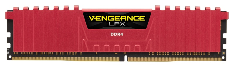 Memoria RAM Corsair Vengeance LPX DDR4, 2666MHz, 8GB, Non-ECC, CL16, Rojo