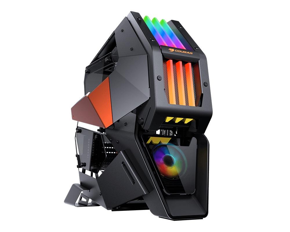 Gabinete Cougar Conquer 2 con Ventana RGB, Full Tower, ATX/CEB/Micro ATX/Mini-ITX, USB 3.0, sin Fuente, Negro/Naranja
