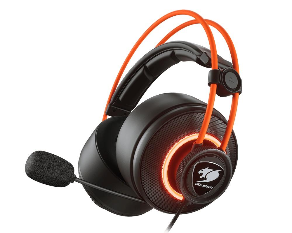 Cougar Audífonos Gamer Immersa Pro Prix 7.1, Alámbrico, 2.5 Metros, USB, Negro/Naranja