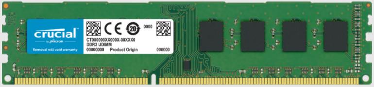 Memoria RAM Crucial DDR3, 1600MHz, 4GB, Non-ECC, CL11