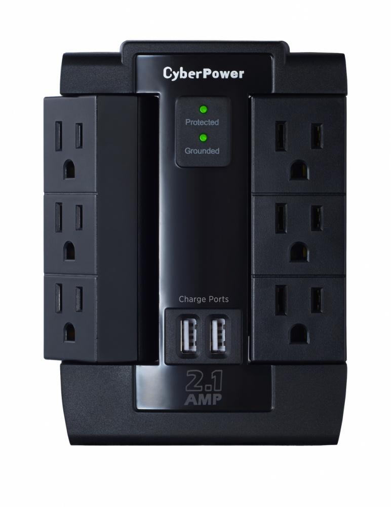 Cyberpower Supresor de Picos P600WSURC1, 6 Contactos, 2x USB, 1200 Joules