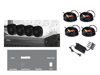 Dahua Kit de Vigilancia DH-XVR1A04 de 4 Cámaras Bullet COOPER B1A11 720p y 4 Canales, con Grabadora - no incluye el Disco Duro