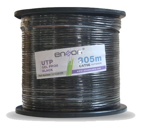 Enson Bobina de Cable Cat5e UTP Pro-II con Gel para Exteriores, 305 Metros, Negro