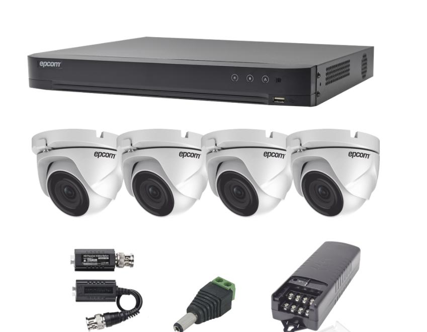 Epcom Kit de Vigilancia Turbo HD KEVTX8T4EW de 4 Cámaras y 4 Canales, con Grabadora DVR