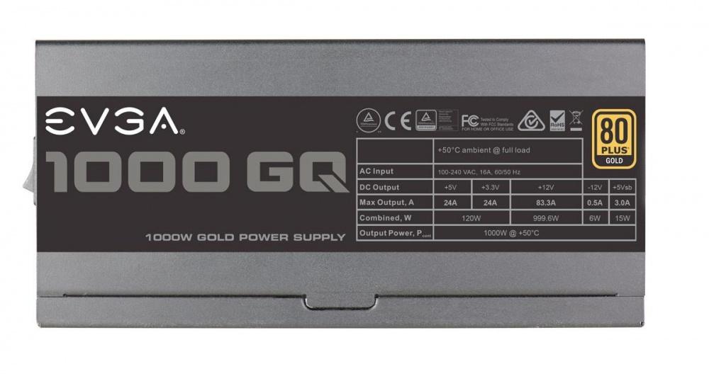 Fuente de Poder EVGA 1000 GQ 80 PLUS Gold, ATX, 24-pin ATX, 1000W