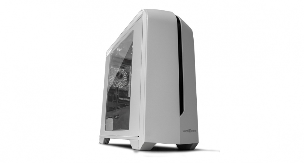 Gabinete Game Factor CSG500 con Ventana LED, Micro-Tower, Micro-ATX/Mini-ITX, USB 2.0/3.0, sin Fuente, Blanco