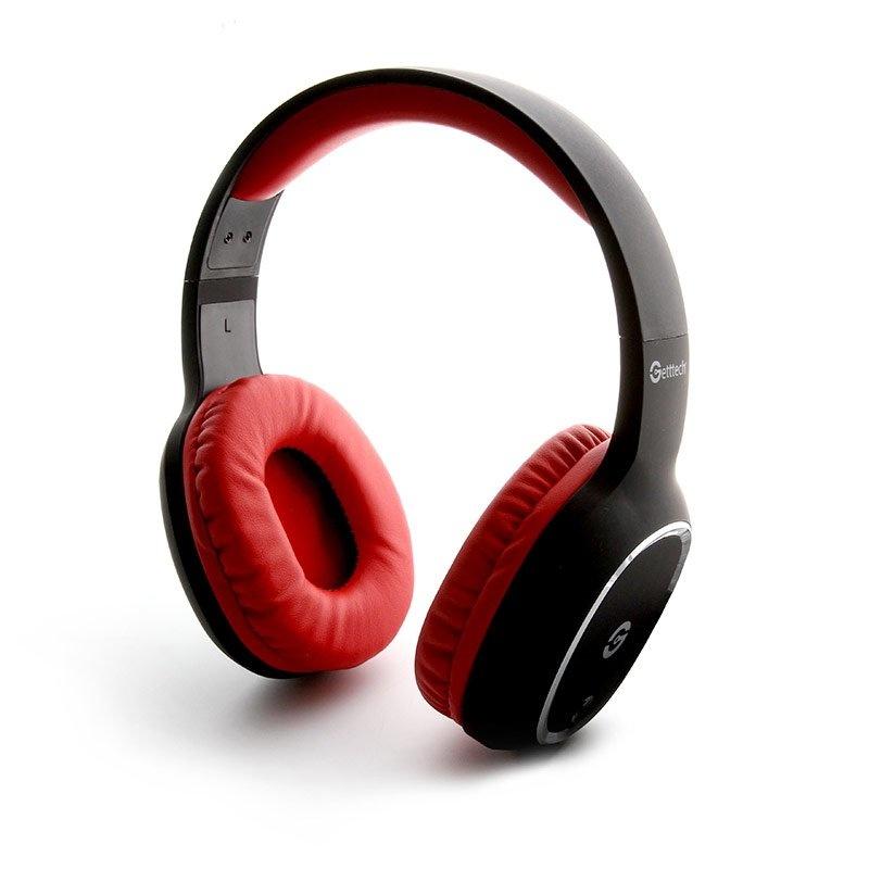 Getttech Audífonos con Micrófono GH-4640R, Bluetooth, Inalámbrico, Negro/Rojo