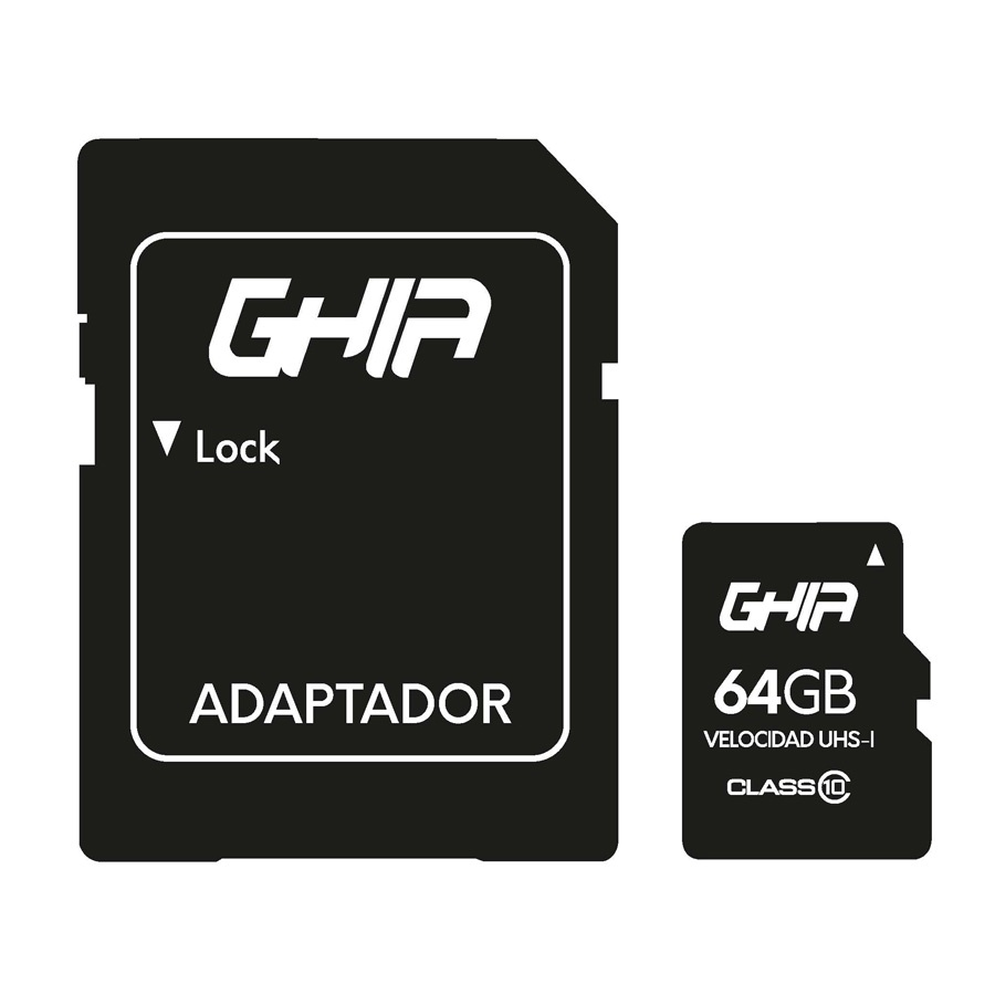 Memoria Flash Ghia GAC-210, 64GB MicroSDXC UHS-I Clase 10, con Adaptador