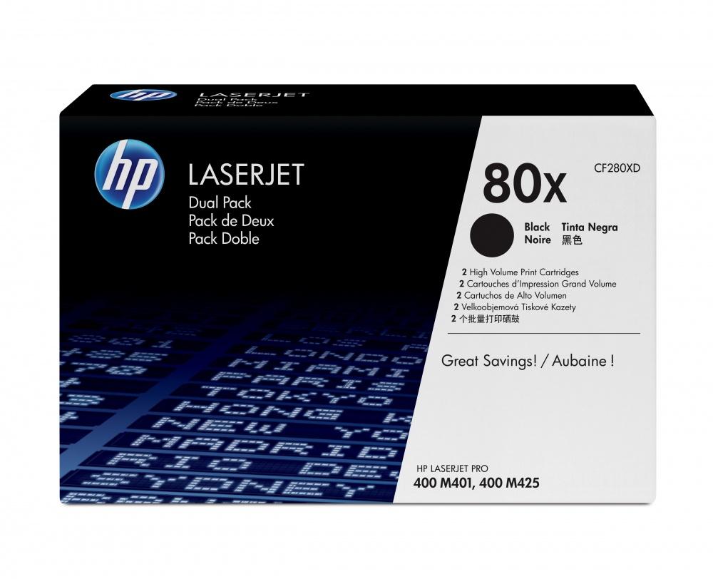 Tóner HP 80X Paquete Doble Negro, 2x 6900 Páginas