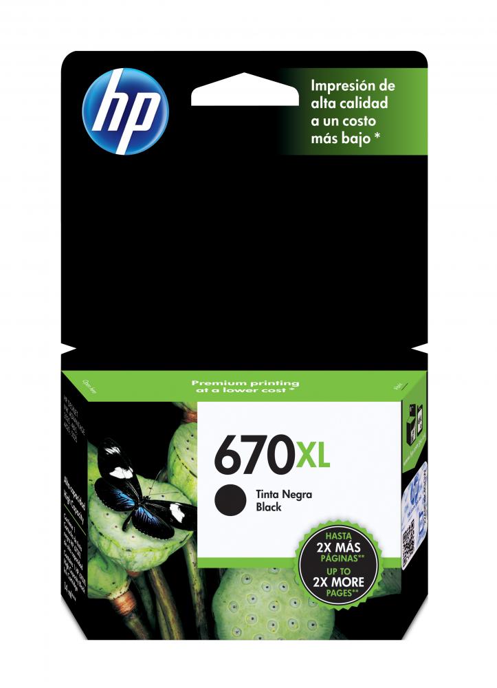 Cartucho HP 670XL Negro Original, 550 Páginas