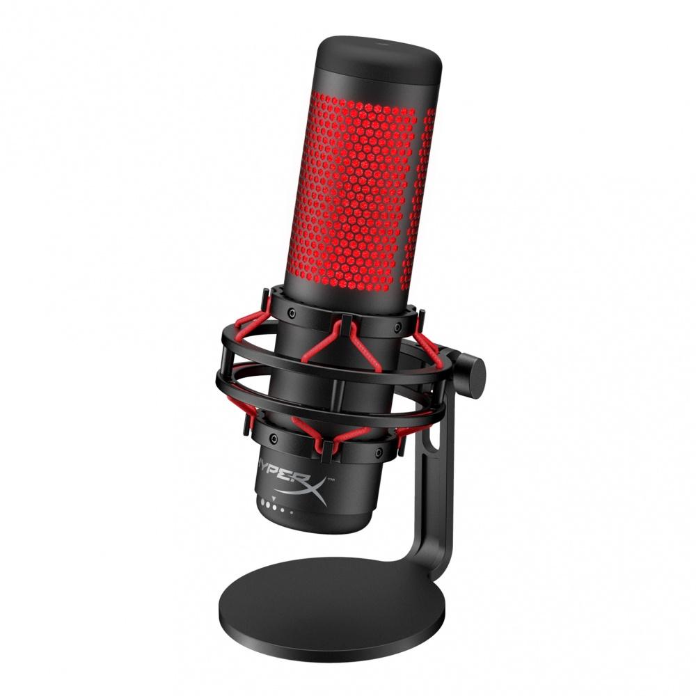 HyperX Micrófono QuadCast, Alámbrico, Negro/Rojo