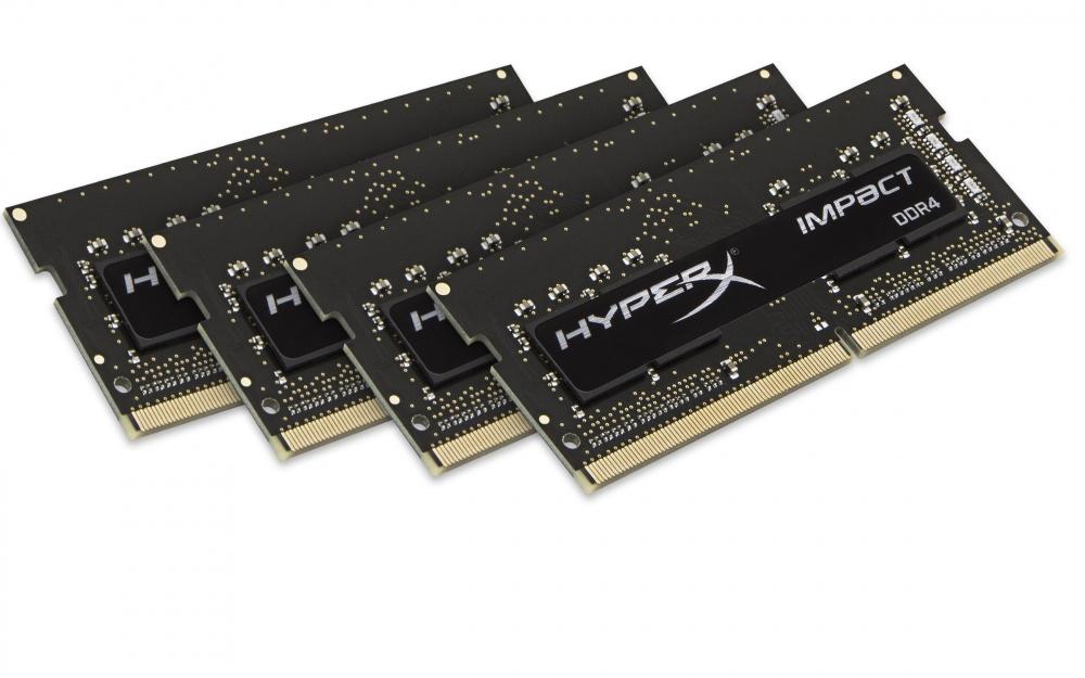Memoria RAM HyperX Impact Black DDR4, 2400MHz, 16GB (4 x 4GB), CL15, SO-DIMM, XMP, 1.2V, SIngle Rank x8